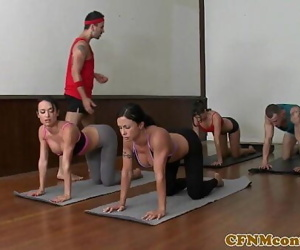CFNM yoga milf group closeup..